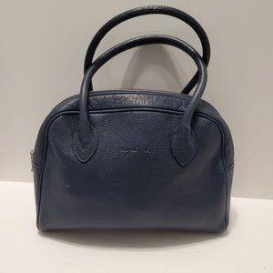Agnes B. VOYAGE Blue Leather Satchel